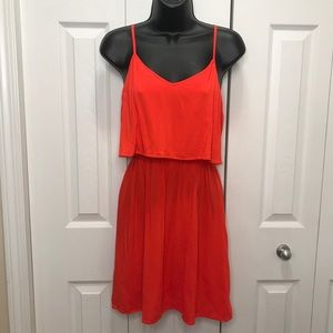 H&M Divided Red Coral Flowy Elastic Waist Dress